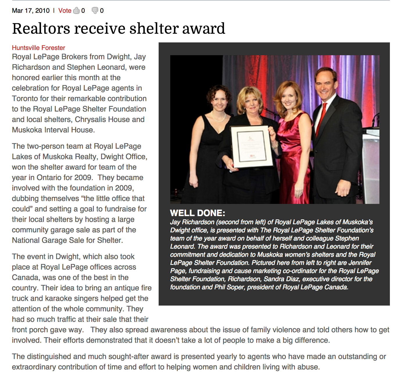 Realtors Receive Shelter Award